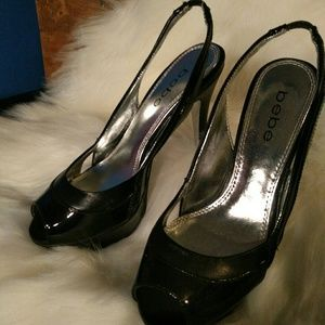 Bebe Black Leather Heels
